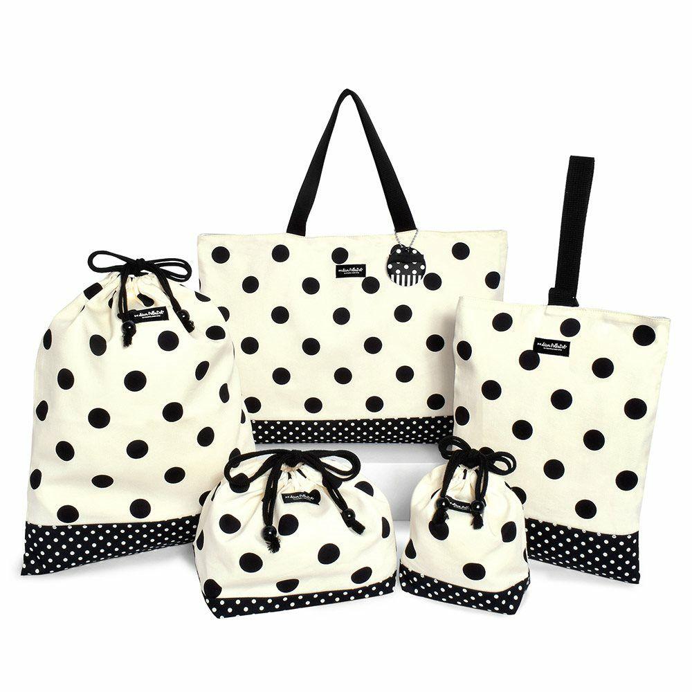 decor PolkaDot 入園入学セット リバーシブル  polka dot large(twill・white)xpolka dot small(twill・black)_1