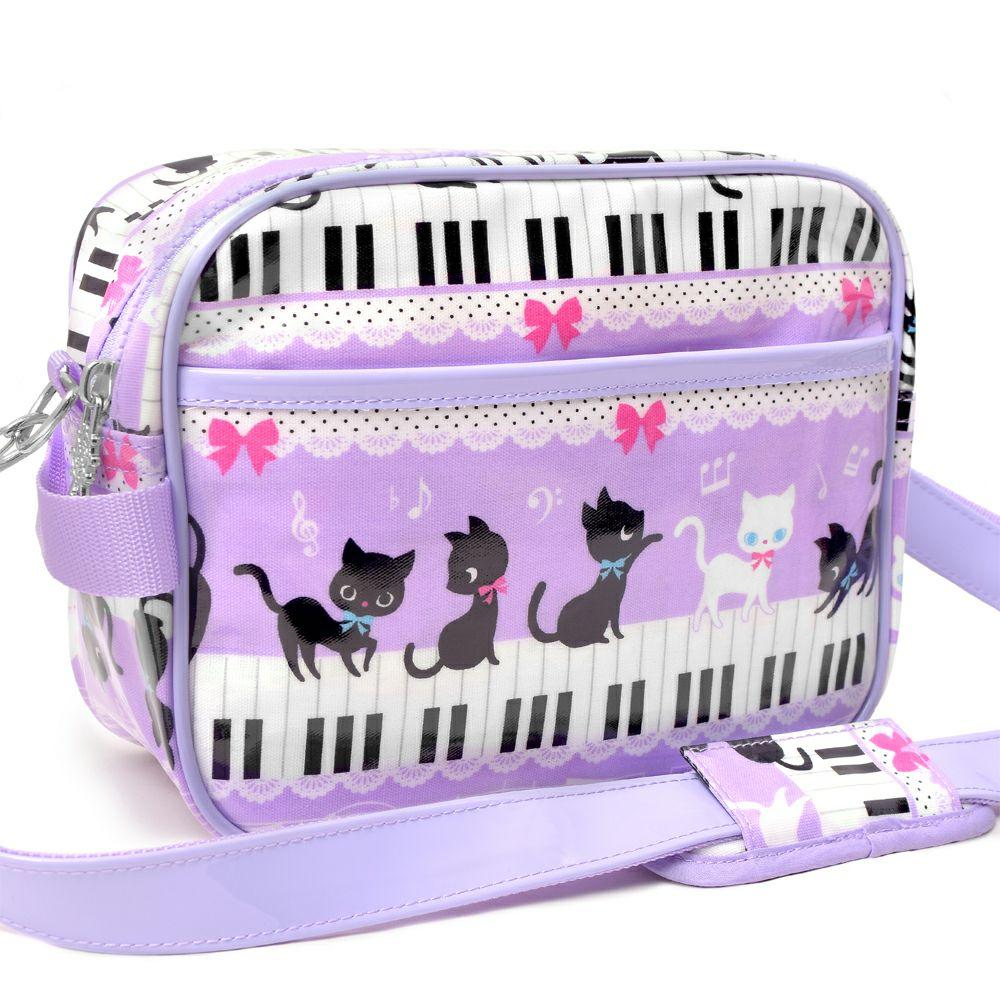 通園バッグ ピアノの上で踊る黒猫ワルツ(ラベンダー)_1
