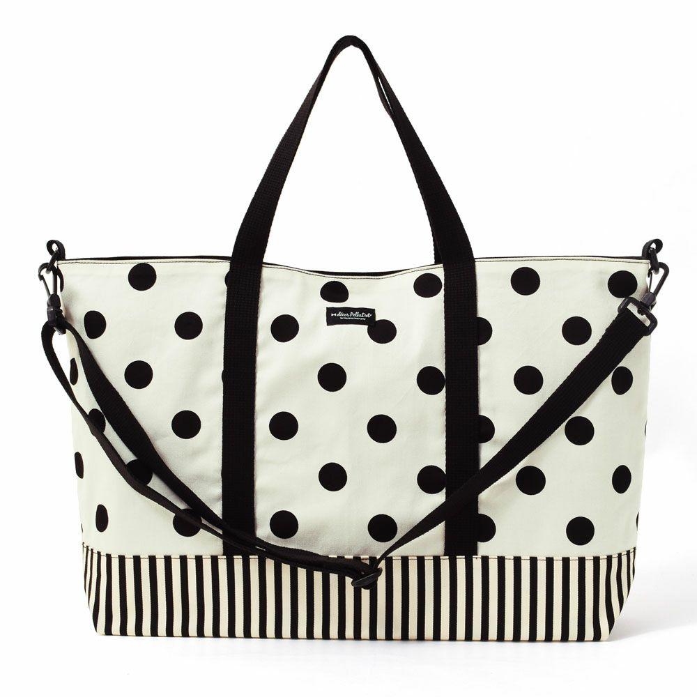 decor PolkaDot レッスンバッグ マチ付き  polka dot large(twill・white)×narrow stripe(twill・black)_1