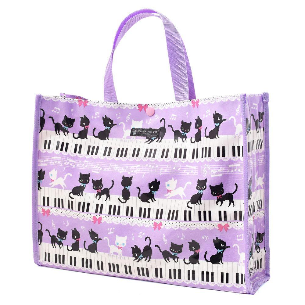 プールバッグ ラミネートバッグ(スクエアタイプ) ピアノの上で踊る黒猫ワルツ(ラベンダー)_1