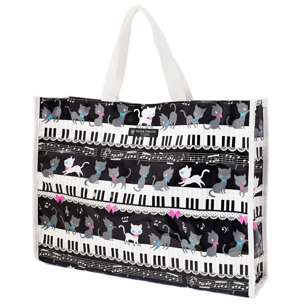 プールバッグ ラミネートバッグ(スクエアタイプ) ピアノの上で踊る黒猫ワルツ(ブラック)_1