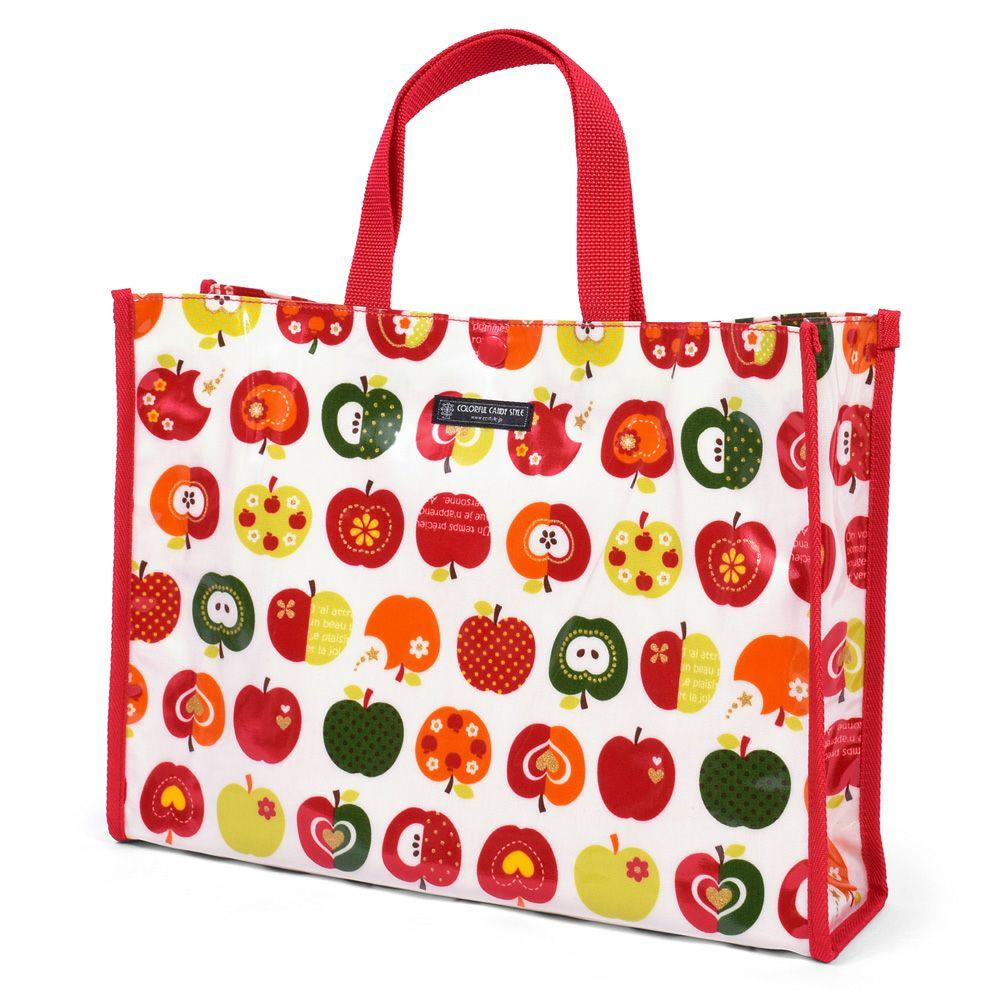 プールバッグ ラミネートバッグ(スクエアタイプ) おしゃれリンゴのひみつ(アイボリー)_1