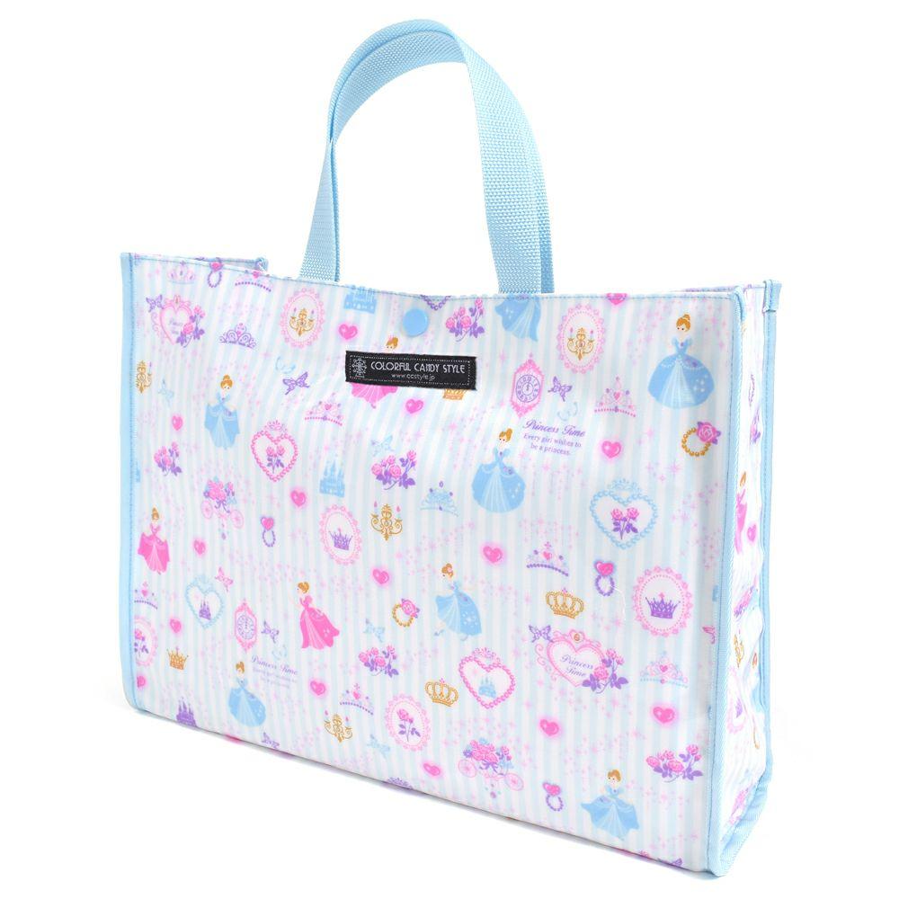 プールバッグ ラミネートバッグ(スクエアタイプ) プリンセスドレスで彩るパウダールーム(ストライプ)_1