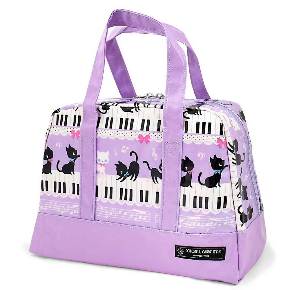 セミボストン(プールバッグ) ピアノの上で踊る黒猫ワルツ(ラベンダー)_1