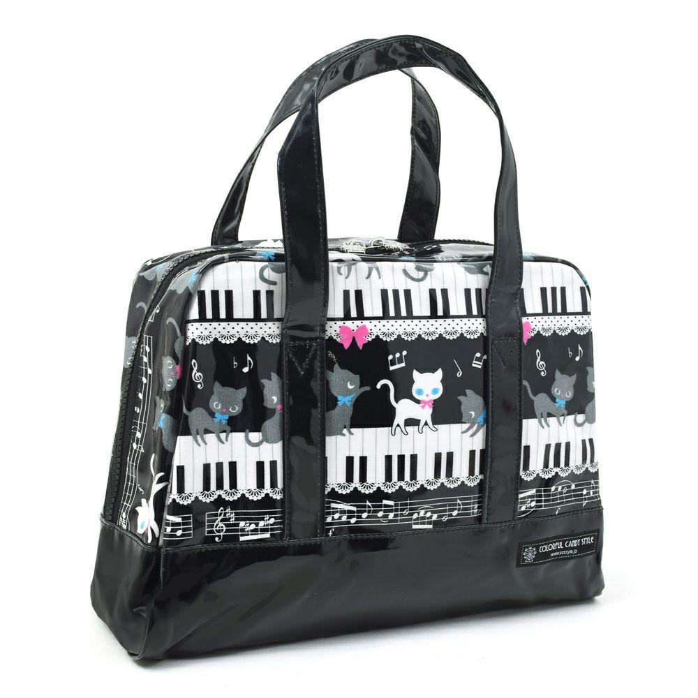 セミボストン(プールバッグ) ピアノの上で踊る黒猫ワルツ(ブラック)_1