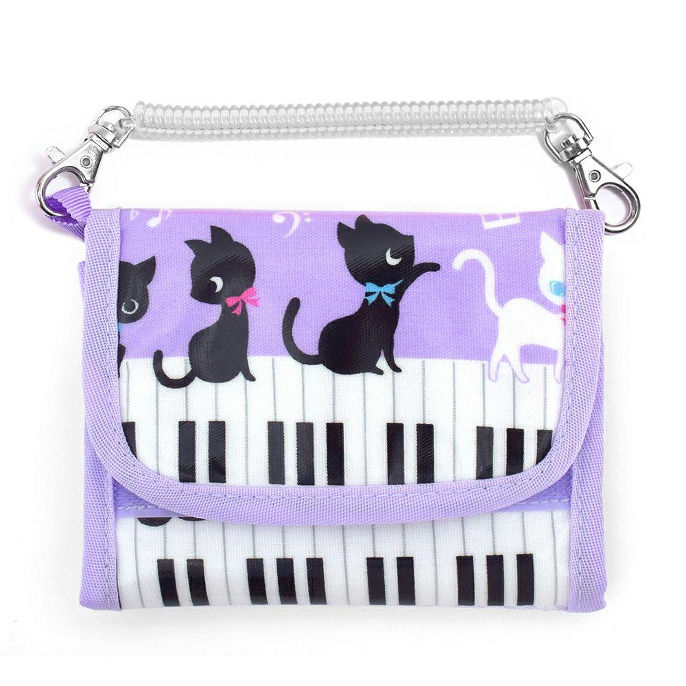 キッズウォレット 財布 ピアノの上で踊る黒猫ワルツ(ラベンダー)_1