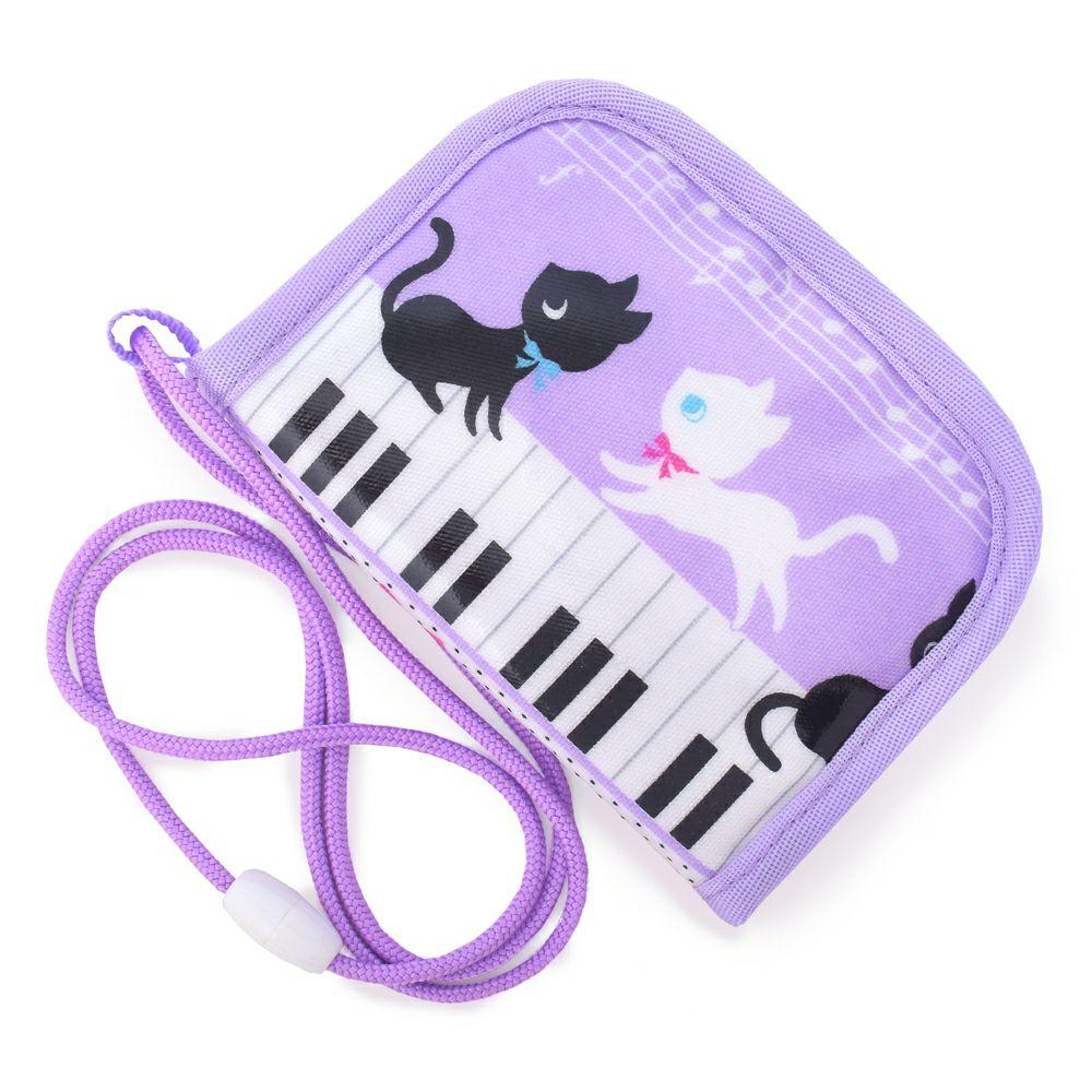 コインケース ピアノの上で踊る黒猫ワルツ(ラベンダー)_1