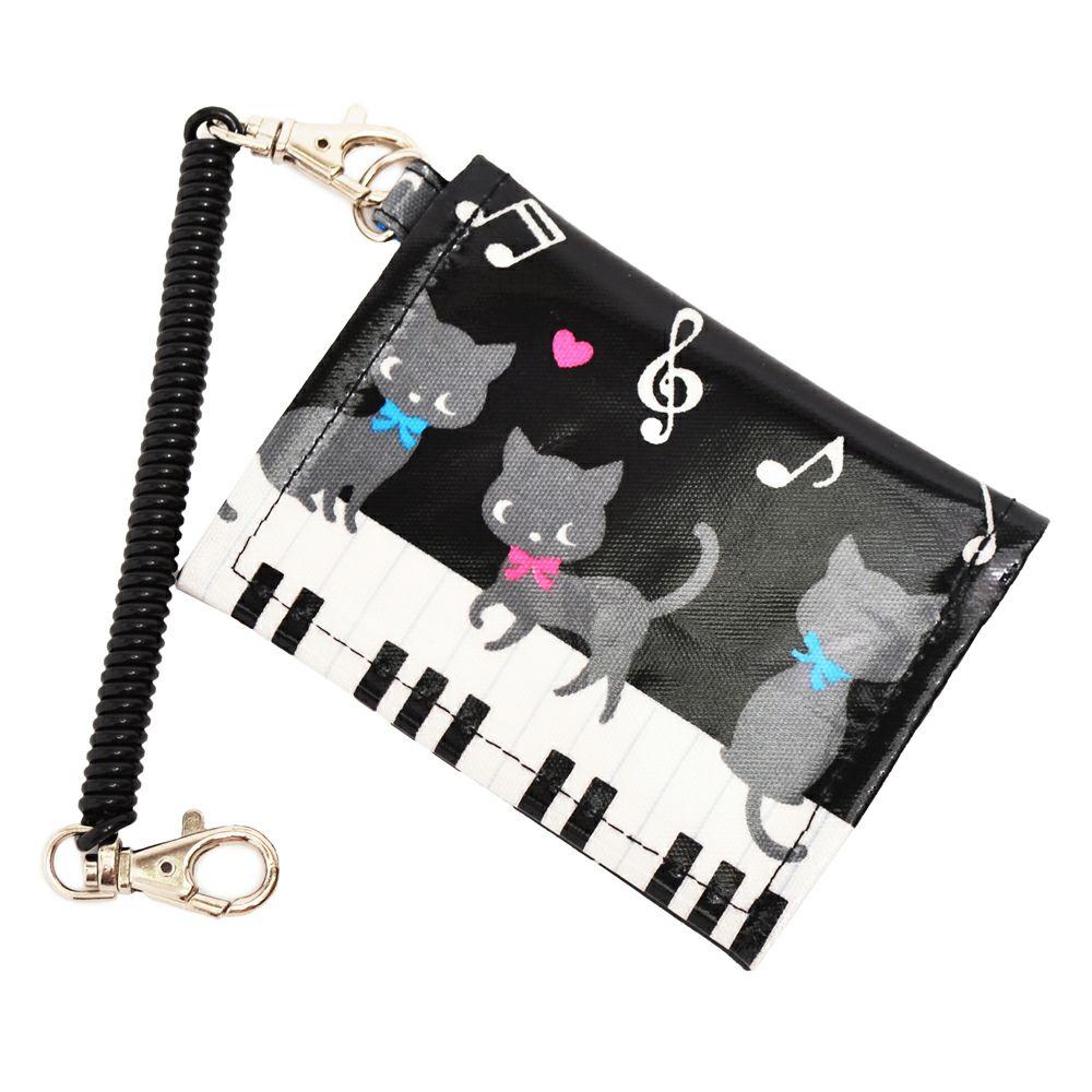 パスケース ピアノの上で踊る黒猫ワルツ(ブラック)_1