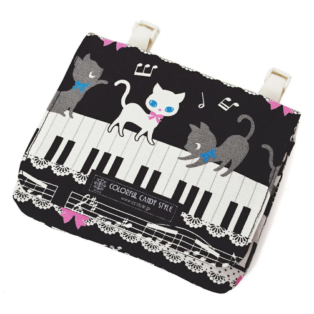 【ラージタイプ】移動ポケット・付けポケット ピアノの上で踊る黒猫ワルツ(ブラック)_1