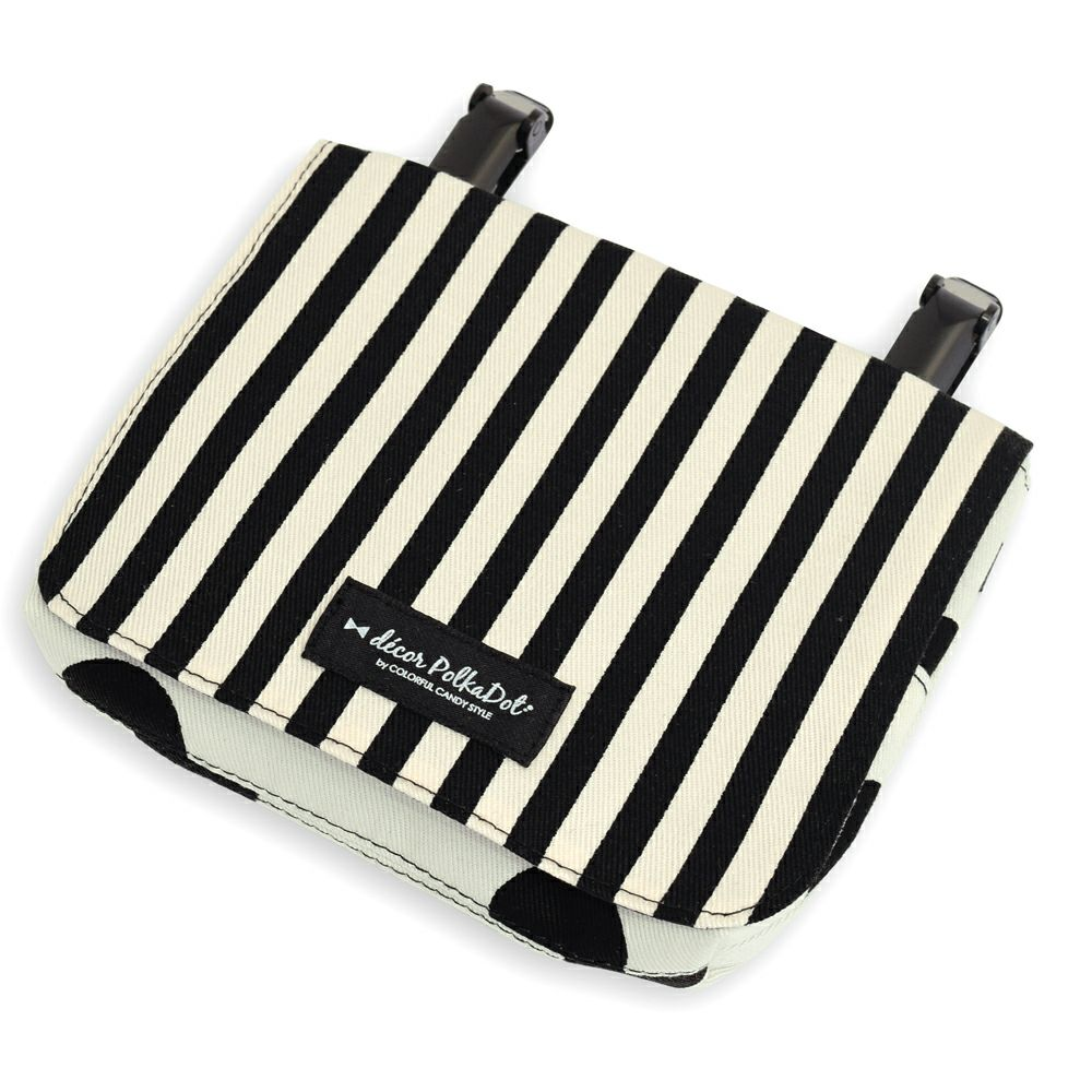 decor PolkaDot【ラージ】移動ポケット・付けポケットpolka dot large(twill・white)xnarrow stripe(twill・black)_1