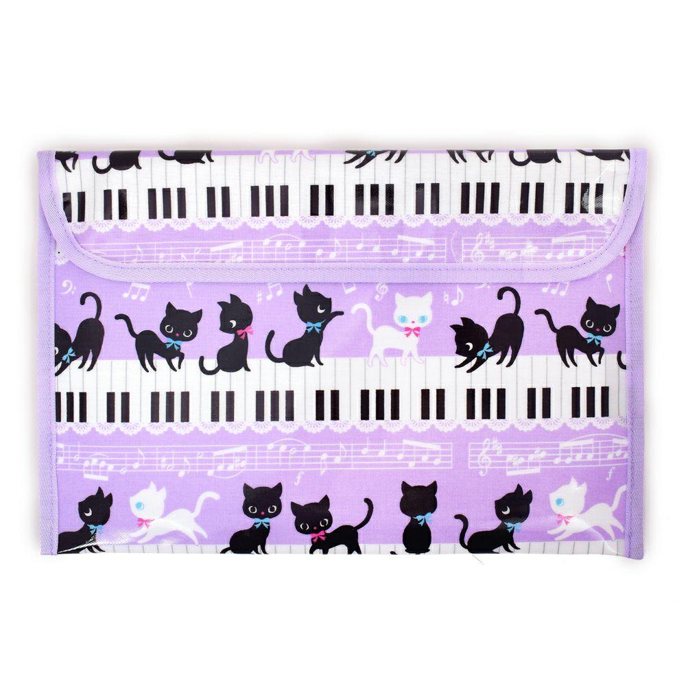 連絡袋(B5サイズ ) ピアノの上で踊る黒猫ワルツ(ラベンダー)_1