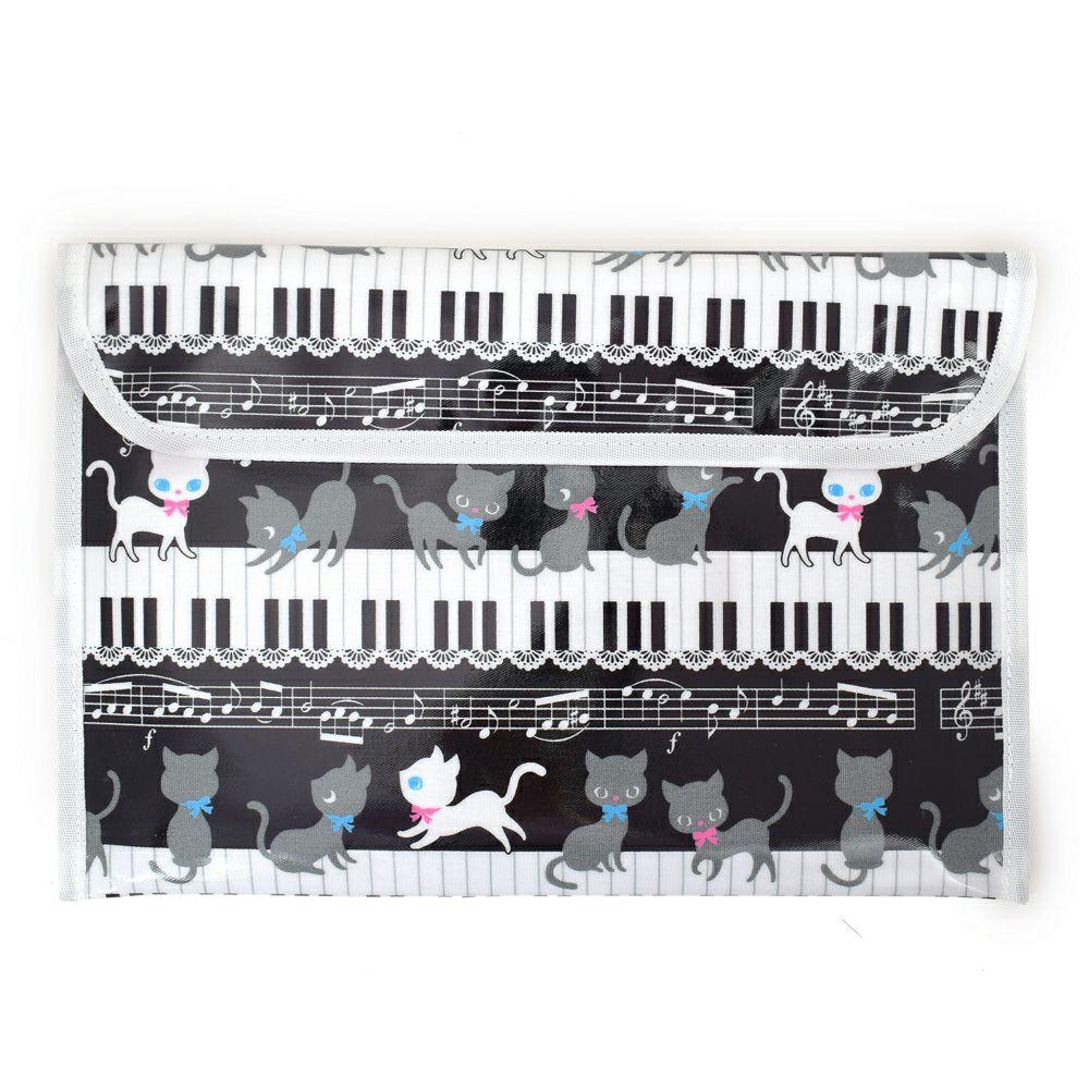 連絡袋(B5サイズ ) ピアノの上で踊る黒猫ワルツ(ブラック)_1