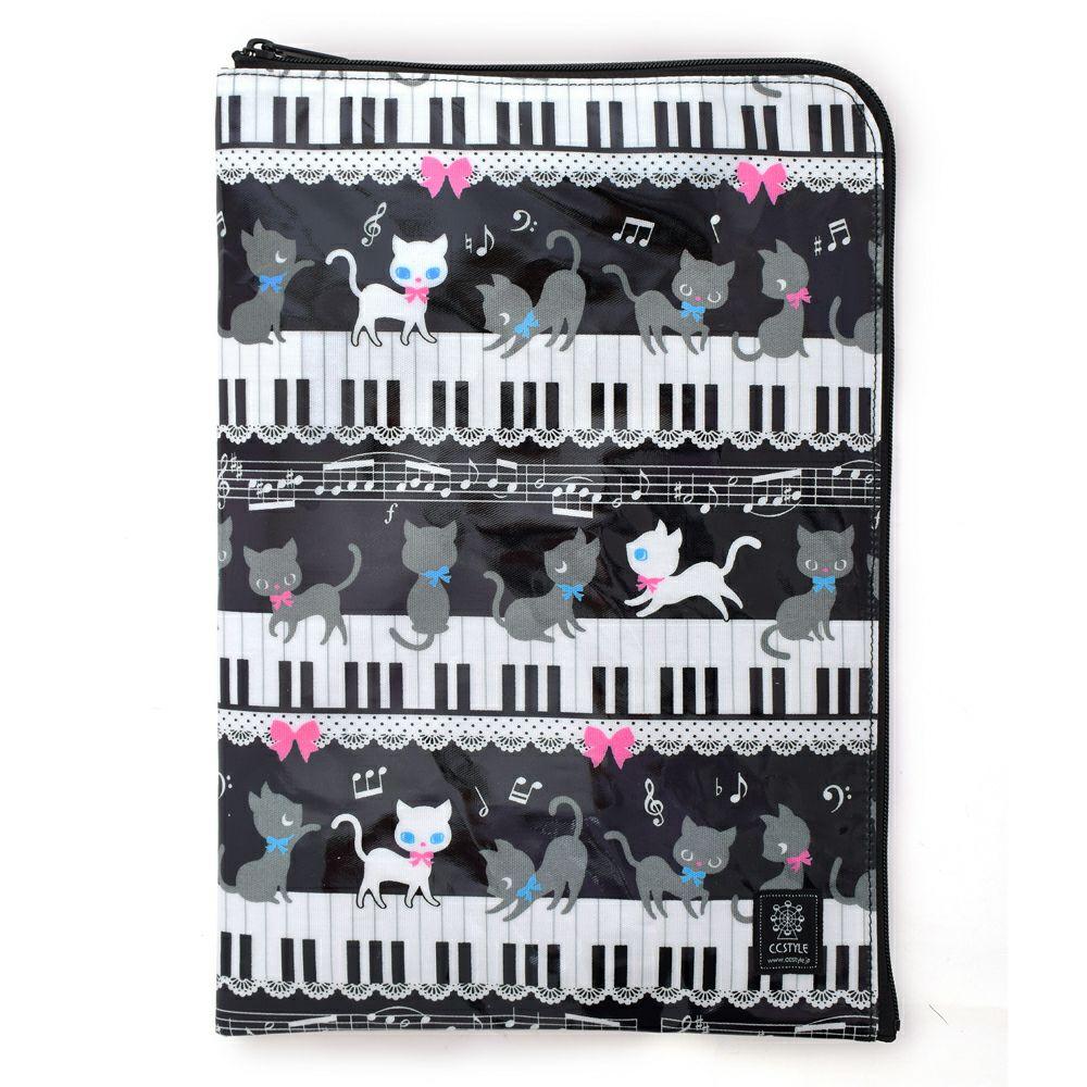 連絡袋(A4サイズ) ピアノの上で踊る黒猫ワルツ(ブラック)_1