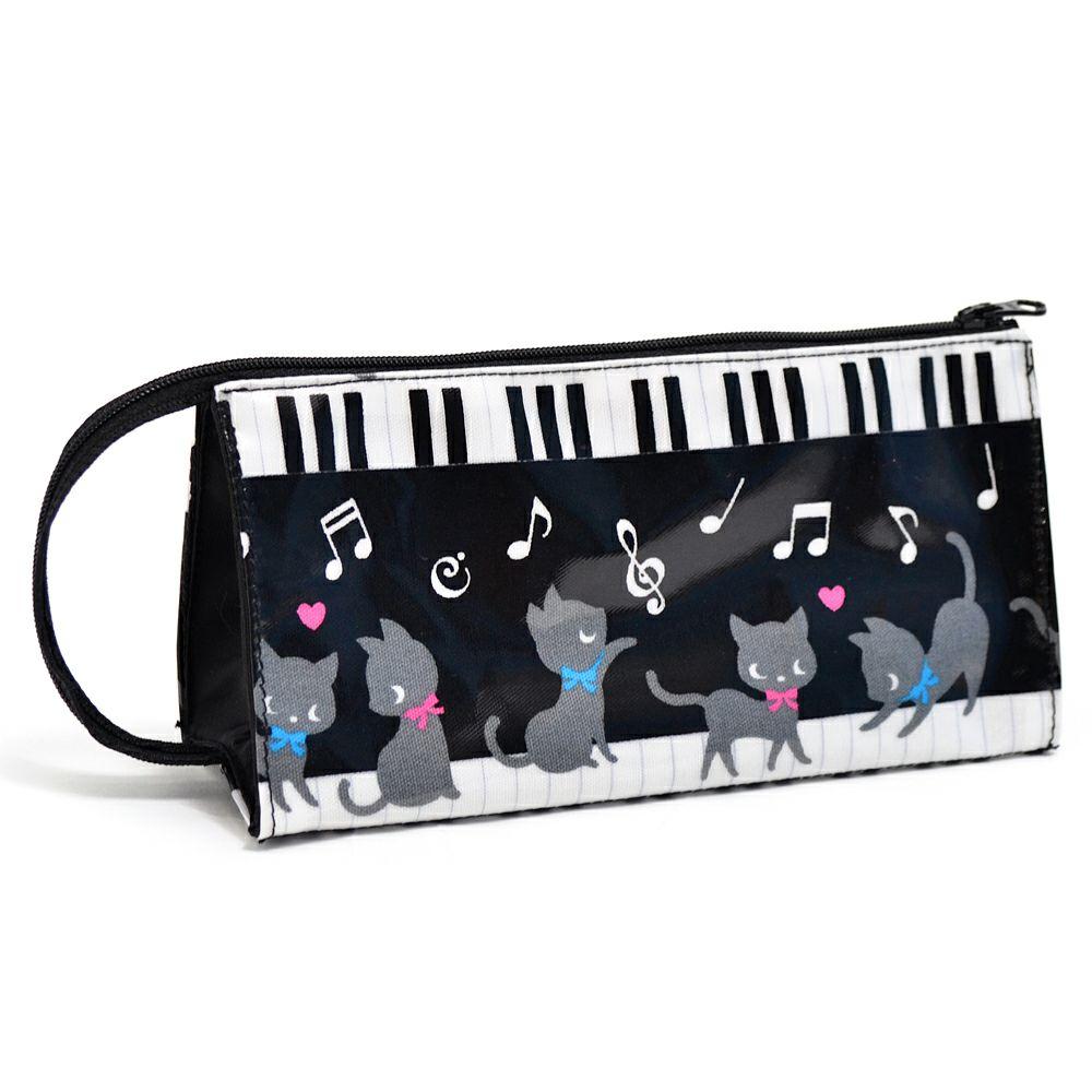 ペンケース ピアノの上で踊る黒猫ワルツ(ブラック)_1