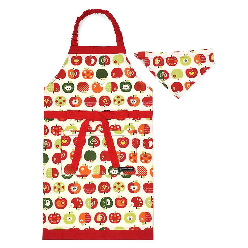 子どもエプロン(130~160cm)ツートーンタイプ おしゃれリンゴのひみつ(アイボリー)_1