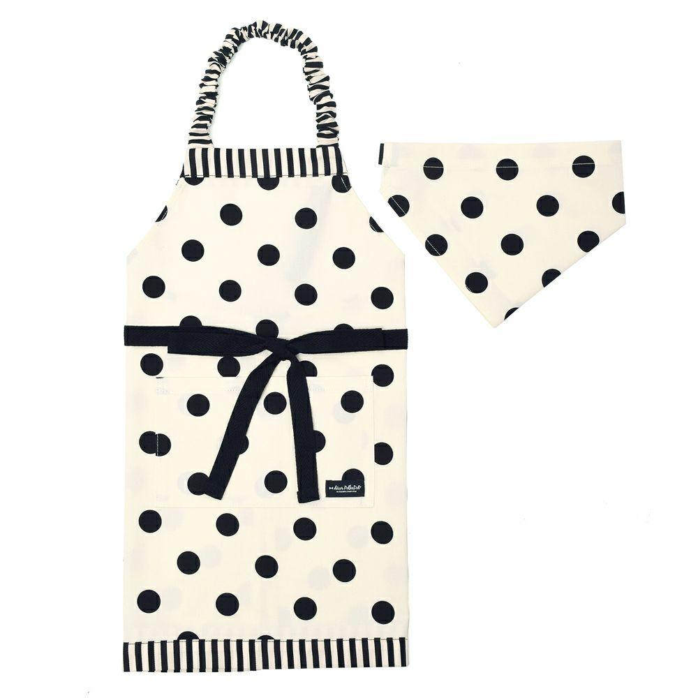 decor PolkaDot エプロン 100-120サイズ polka dot large(twill・white)×narrow stripe(twill・black)_1