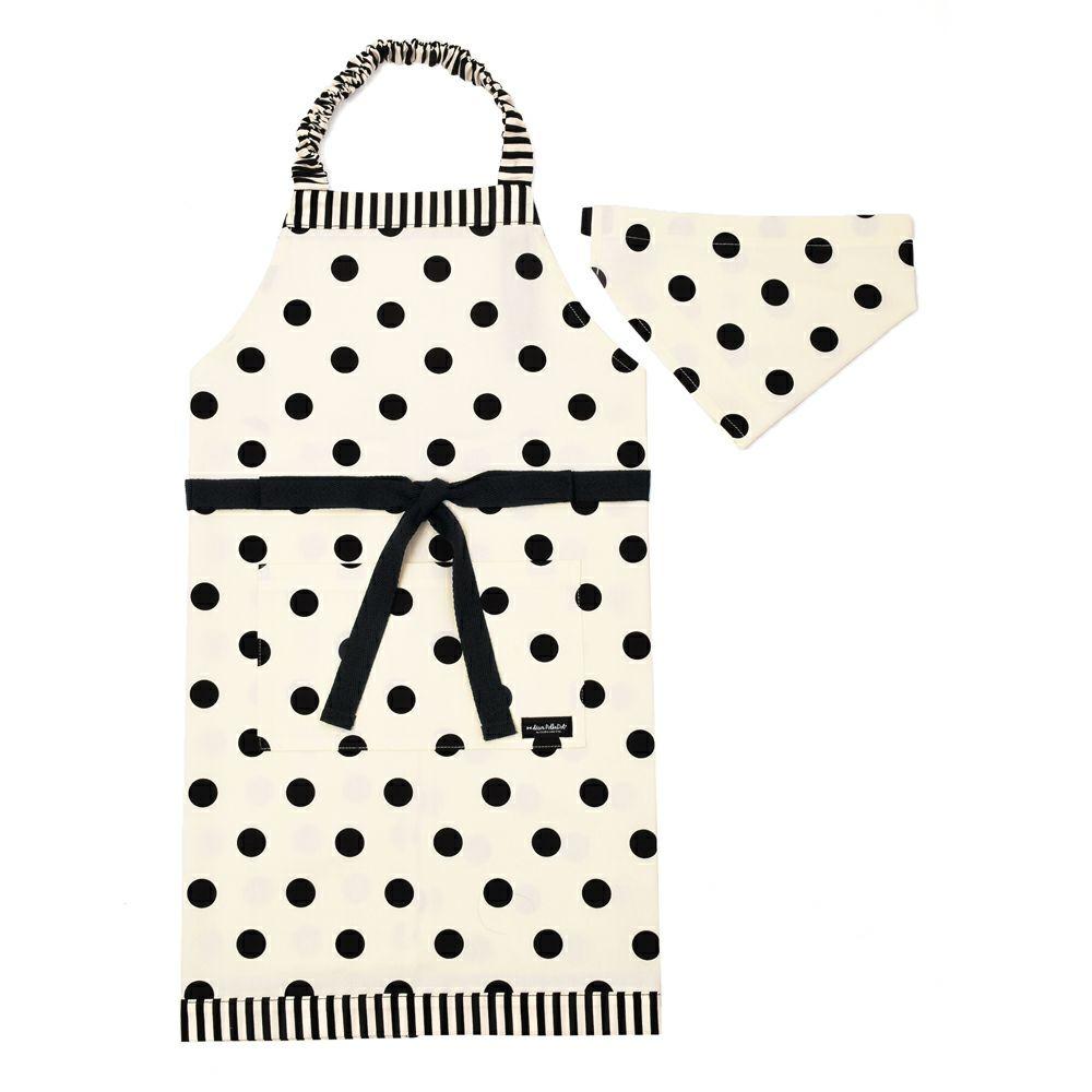 decor PolkaDot エプロン 130-160サイズ polka dot large(twill・white)×narrow stripe(twill・black)_1