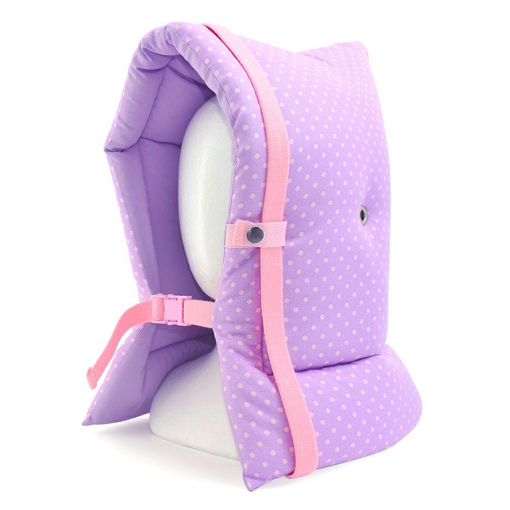 防災頭巾(椅子固定ゴム付き) 水玉(パープル地にピンクドット)_1
