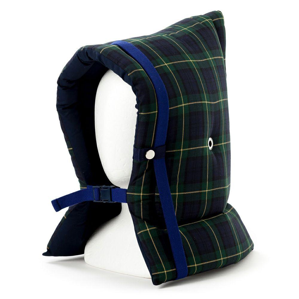 防災頭巾(椅子固定ゴム付き) タータンチェック・ダークグリーン_1