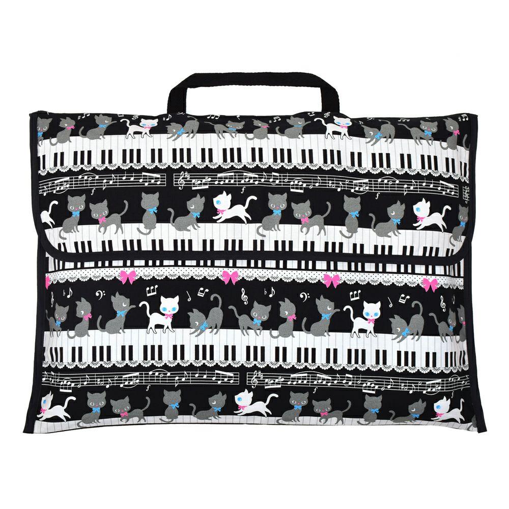 防災頭巾カバー スタンダード(背板幅36cmタイプ) ピアノの上で踊る黒猫ワルツ(ブラック)_1