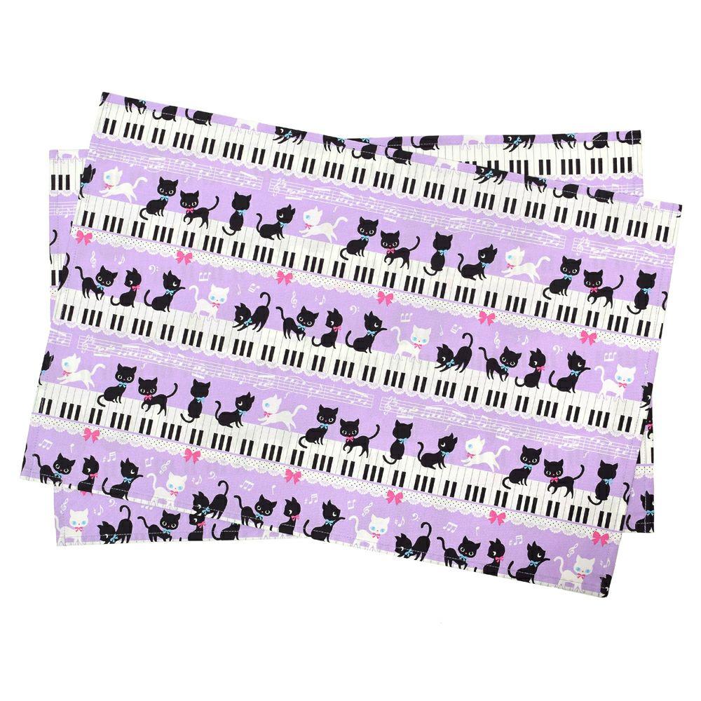 ランチョンマット ラージタイプ ピアノの上で踊る黒猫ワルツ(ラベンダー)_1