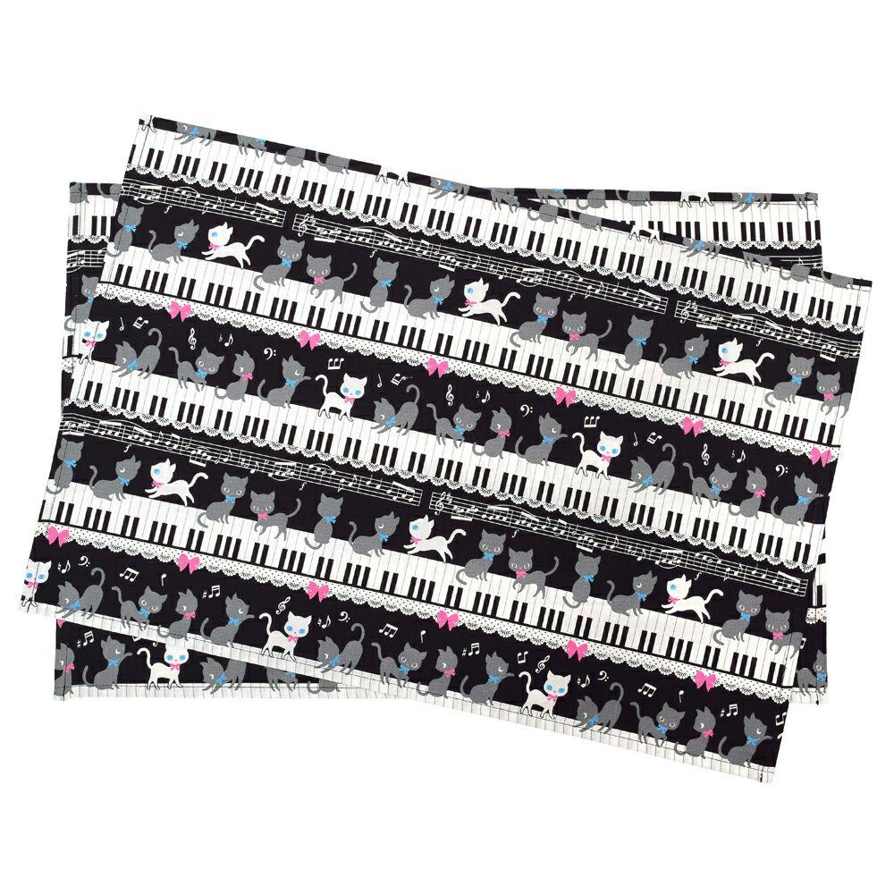 ランチョンマット ラージタイプ ピアノの上で踊る黒猫ワルツ(ブラック)_1