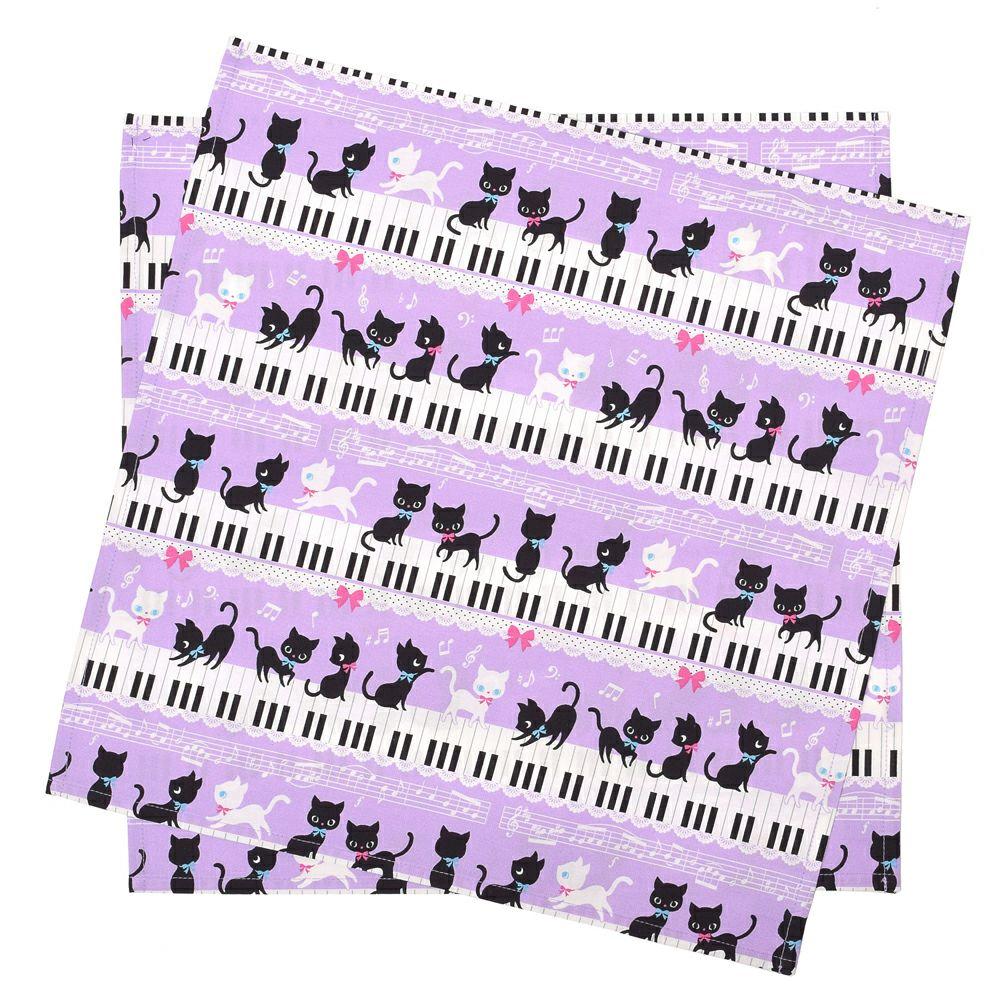ランチクロス・給食ナフキン スタンダード ピアノの上で踊る黒猫ワルツ(ラベンダー)_1