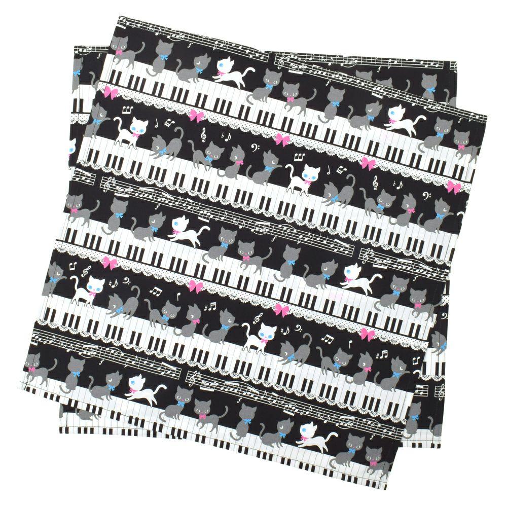 ランチクロス・給食ナフキン スタンダード ピアノの上で踊る黒猫ワルツ(ブラック)_1