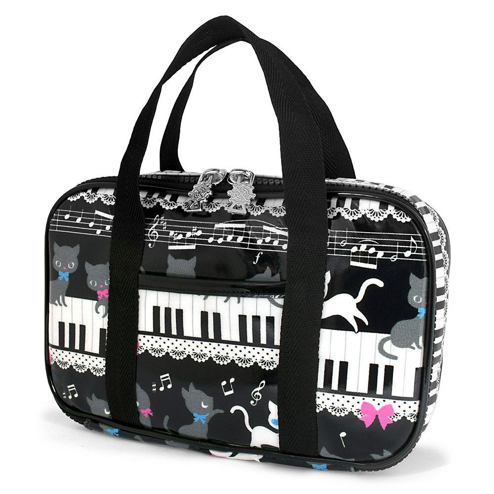 裁縫・ソーイングバッグ ピアノの上で踊る黒猫ワルツ(ブラック)_1