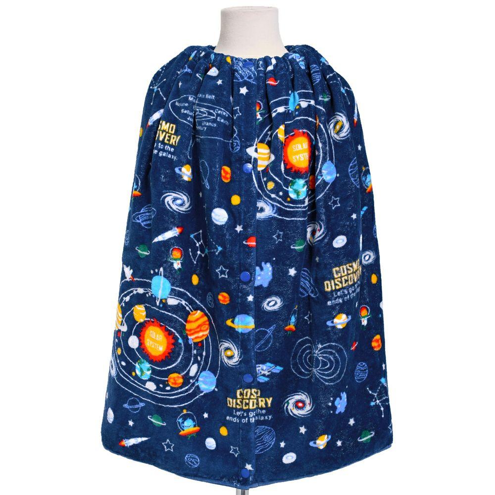 ラップタオル プールタオル 巻き 太陽系惑星とコスモプラネタリウム(ネイビー)_1