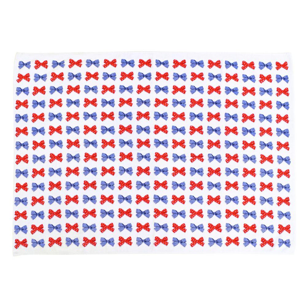 プールタオル 【平面タイプ・ロングサイズ】 ポルカドットとストライプのフレンチリボン_1