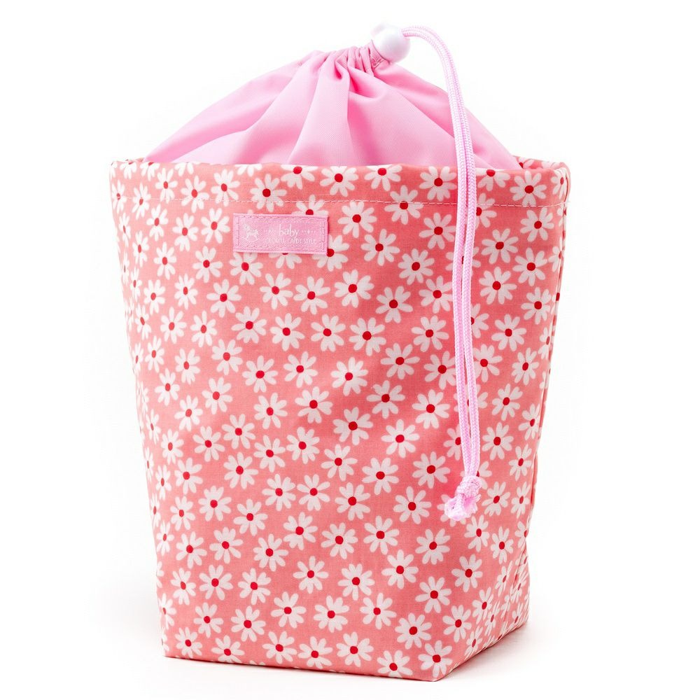 消臭おむつポーチ 巾着タイプ 可憐で清楚なスカンジナビアフラワー(ピンク)_1