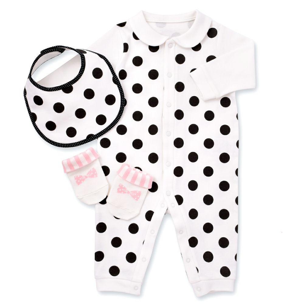 ベビーギフト3点セット polka dot large(white)_1
