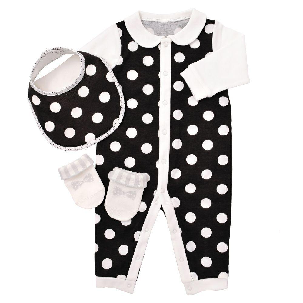 ベビーギフト3点セット polka dot large(black)_1