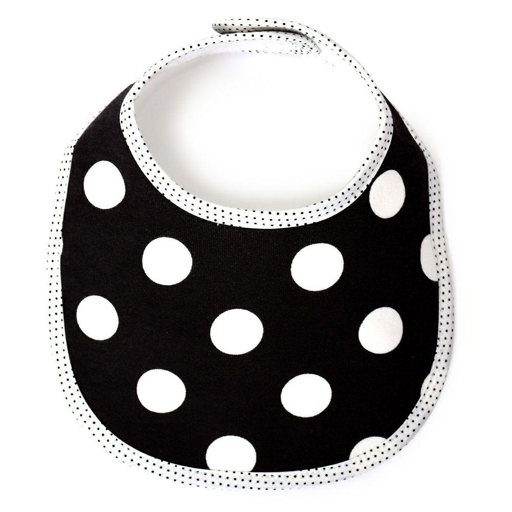 スタイ・ビブ・よだれかけ(丸型) polka dot large(black)_1