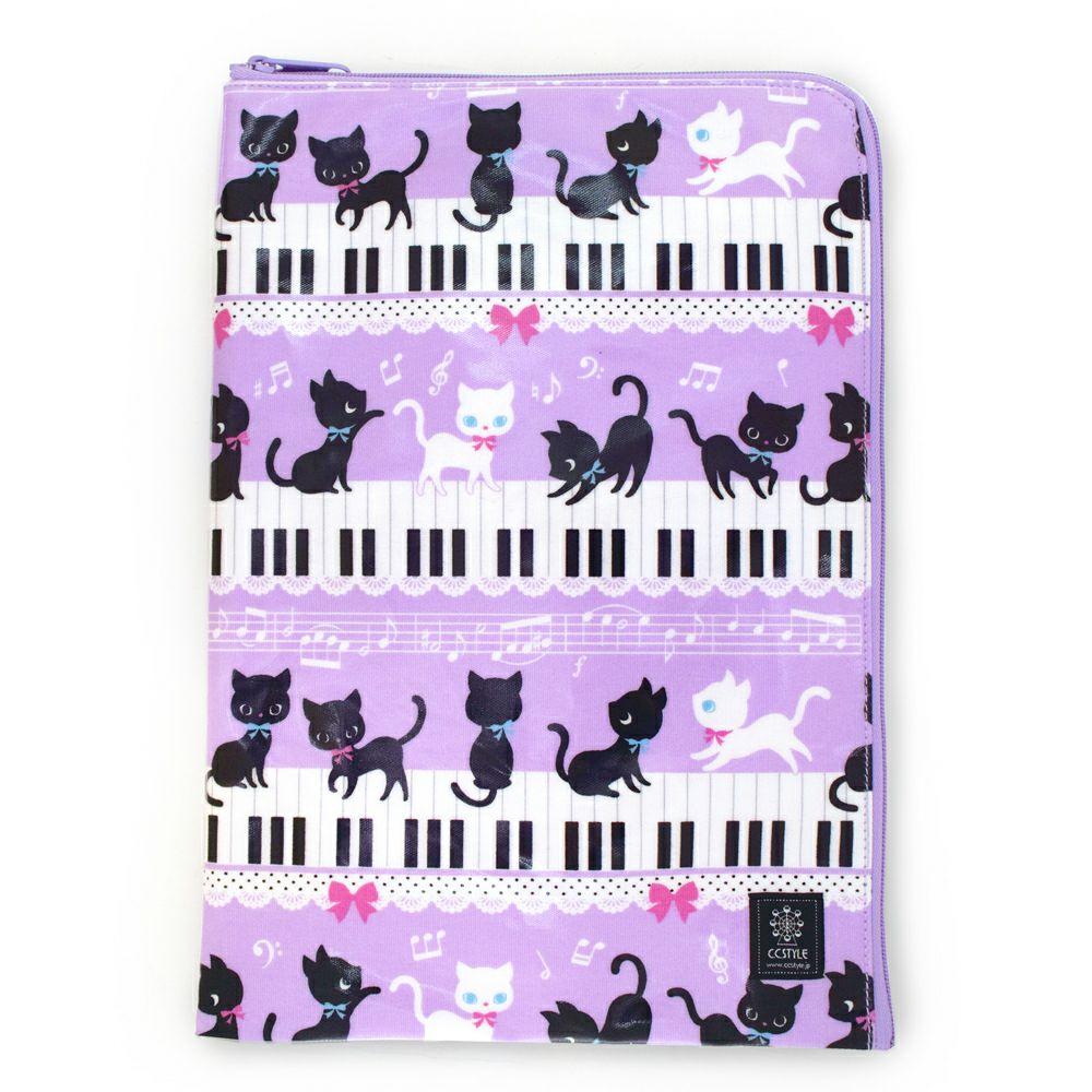 連絡袋(A4サイズ) ピアノの上で踊る黒猫ワルツ(ラベンダー)_1
