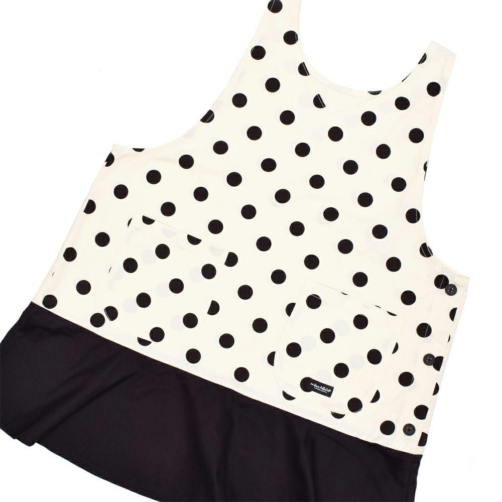 保育士エプロン polka dot large (twill・white)_1