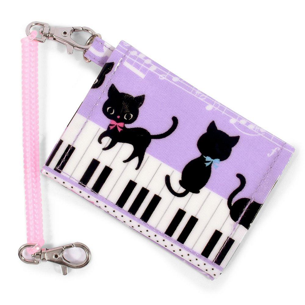 パスケース ピアノの上で踊る黒猫ワルツ(ピンク)_1